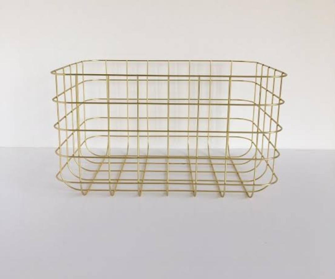 Gold Metal Wire Basket